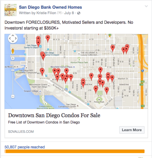 Facebook Ad For Downtown Condo Home Buyers - SuccessWebsite