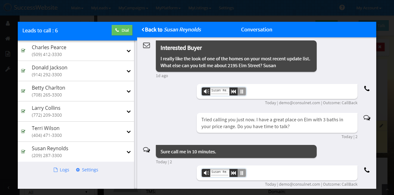SuccessEngage System Conversation Example