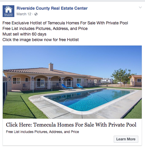 Success Website Facebook Ad - Homes With Pools