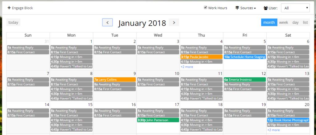 EngageCRM - Calendar Example
