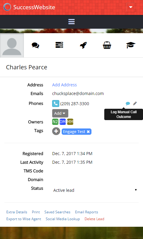 EngageCRM - Lead Details on Mobile Example
