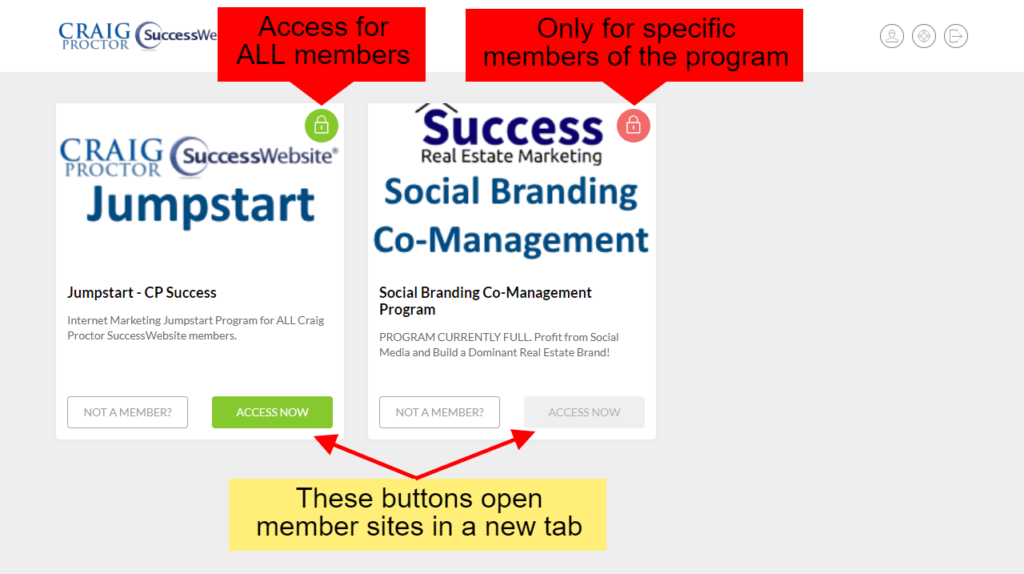 Member Training Portal - Access Now buttons